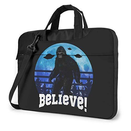 Bigfoot Sasquatch Credi con UFO e Aliens Borsa a tracolla per laptop, Custodia per notebook multifunzione