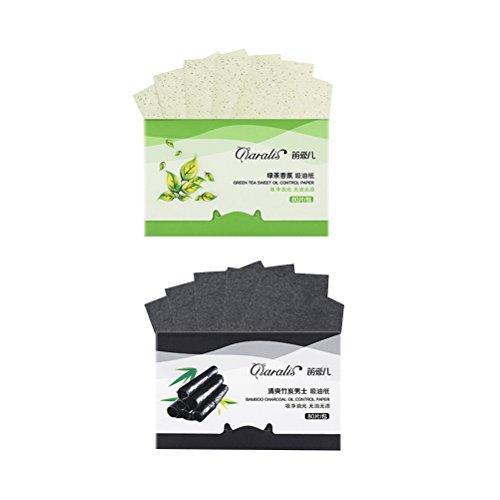 FRCOLOR Paquet de 2 feuilles de papier absorbant de charbon de bois de bambou feuille verte absorbant l'huile de thé pour les hommes des femmes