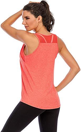 Damen Yoga Fitness Tank Top Locker Mädchen Sport Tshirt Training Jogging Running Shirt Ärmelloses Mesh Zurück Sportbekleidung Rot Klein