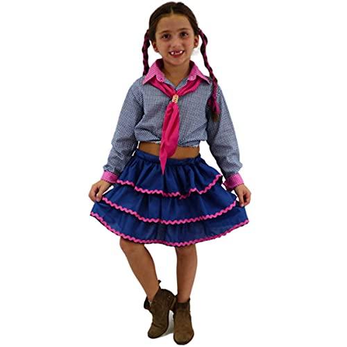 Roupa Festa Junina Infantil Saia Caipira Babados 2 a 10 Anos (M 4-6)