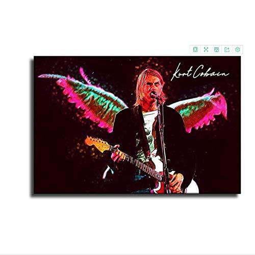 Tela de lienzo 60x80cm Póster de Kurt Cobain, póster y cuadro artístico de pared, decoración moderna para dormitorio familiar