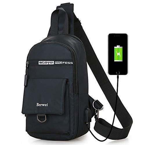 Cross Border Travel Waterproof Oxford Fabric Chest Bag/Messenger Bag/Shoulder Bag/Crossbody Bag/Travel Bag with USB Charging