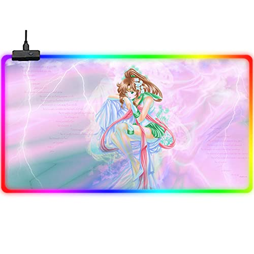 Gaming Mouse Pads Sailor Moon RGB Large Gaming Mouse Pad Pink Cute Girl Extended Led Mouse Mat 23.6X11.8Inch Non Slip Rubber Base Smooth Surface Pc Keyboard Desk Pad for Gamer,Laptop (A)