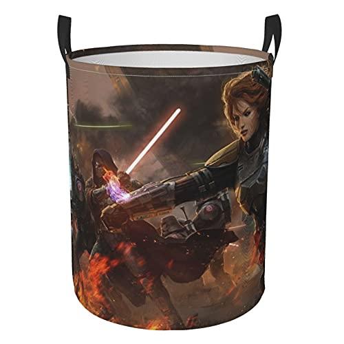 Star Wars - Cesta de lavandería redonda impermeable con asa, de pie y plegable multifuncional (dos tamaños) S