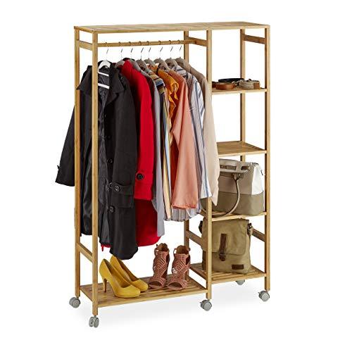 Relaxdays Rollgarderobe Bambus, mobiler Kleiderständer, 6 Ablagen, offen, Garderobenstange, HBT 136,5 x 32 x 11cm, natur