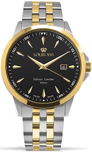 LOUIS XVI Herren-Armbanduhr Athos Slim Stahlband Bicolor Silber Gold Schwarz Analog Quarz Edelstahl 928