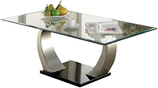 BOWERY HILL Glass Top Coffee Table In Satin