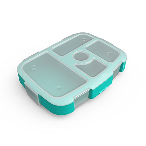 Bentgo Kids Brights Tray (Aqua) with Transparent Cover - Reusable, BPA-Free, 5-Compartment Meal Prep Container with Built-In Portion Control for Healthy At-Home Meals and On-the-Go Lunches