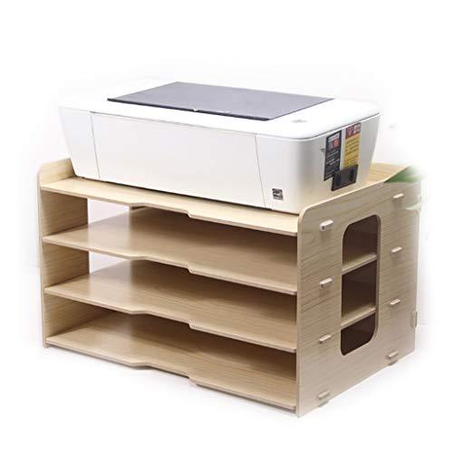 BOXDOU Dikker Bestand Rack Houten Desktop Multi-Layer 4 Grid Office Boekenplank A3 Papier Opbergdoos Informatie Doos A4 Printer rack45*31.2 * 27cm Flexibele en Tidy Opslag Beige