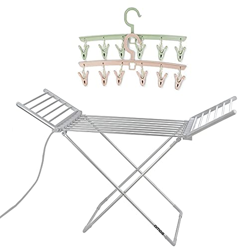 AMOS 230 Electric Heated Clothes Dryer Folding Energy-Efficient Indoor Wet Laundry Drying Rack + 2 x 6-Peg Airers