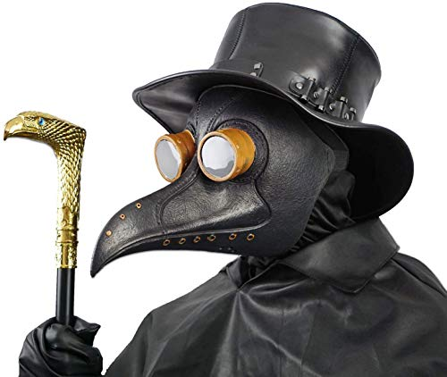 Creepy Party Pest Doktor Maske Schwarz Niet Lange Nase Vogelschnabel Steampunk Masken Kostüm Requisiten für Masquerade Ball Halloween Party Karneval Cosplay