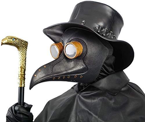 Creepy Party Pest Doktor Maske Schwarz Niet Lange Nase Vogelschnabel Steampunk Masken Kostüm Requisiten für Masquerade Ball Halloween Party Karneval Cosplay