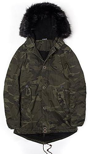 ZHUDJ Men's Hooded Jacket l'hiver Long Manteau De Fourrure à Capuchon en Coton Hommes