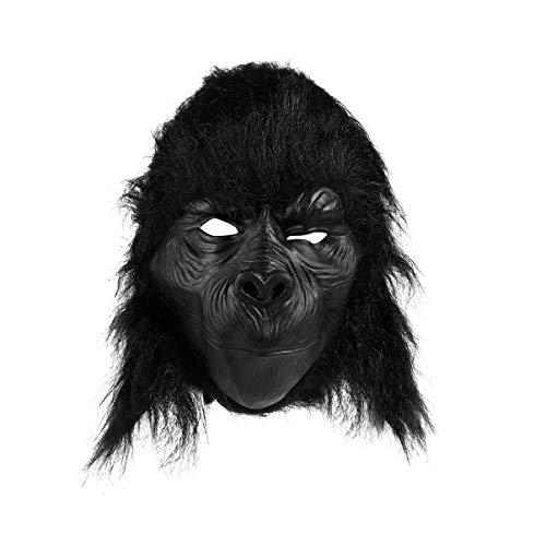 Amosfun Halloween Kopfmaske Horror Schimpanse Tier Kopf Maske Neuheit Vollgesichtsmaske für Halloween Weihnachten Ostern Kostüm Party (schwarz)