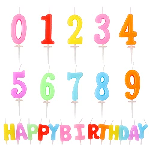 Hileyu 23PCS Candele con Lettere di Numeri di Compleanno,Un Set di Candele di Buon Compleanno e 10 Candele con Numeri di Torta di Compleanno Numero,per Bomboniere,Feste (Colori Caramelle).