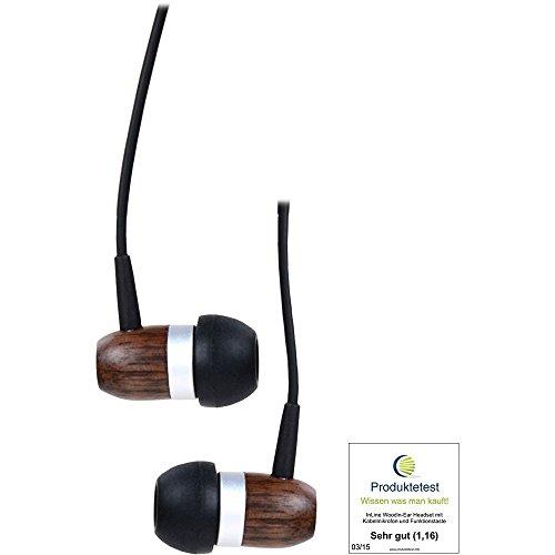 Preisvergleich Produktbild InLine 55357 woodin-ear,  Headset mit Kabelmikrofon und Funktionstaste,  Walnuss Echtholz