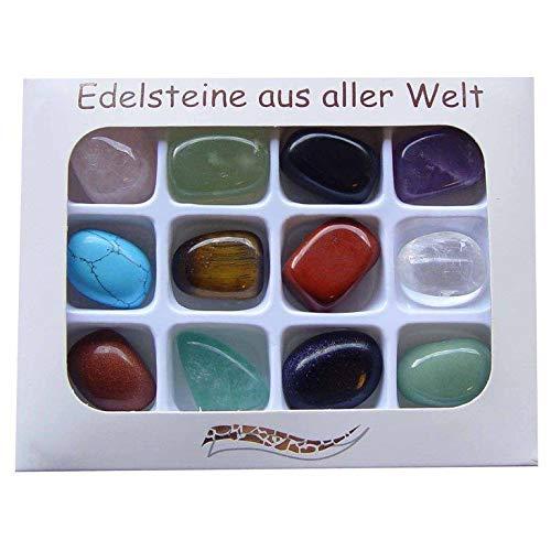 12 Stück Edelsteine Trommelsteine ca.20 x 15 mm Steinarten einzeln benannt