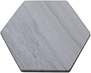 Marbleobject Hexagon 6'' Wood Look Gray Marble Flat Valet, key, Jewelry, Wallet tray