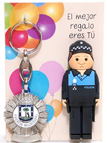 USB polizia mondiale da 16 GB. Con portachiavi placca di polizia mondiale de Madrid.