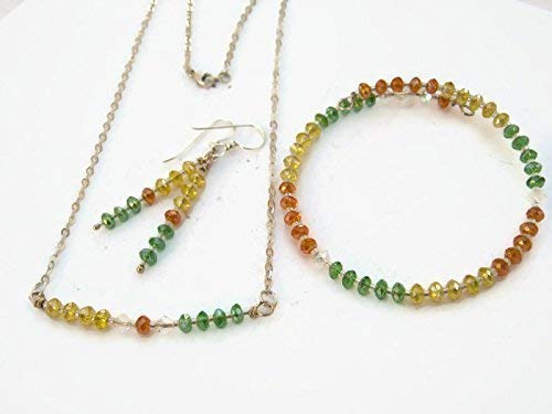 and Earrings Set Bracelet Handmade Green Necklace