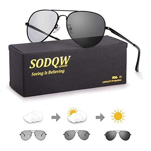 Polarisierte Sonnenbrille Herren Photochromatisch für Fahren Draussen Sports mit Ultraleicht Metallrahmen Leicht 100% UVA UVB Schutz (schwarz)
