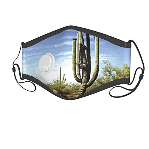 Fashion 3D Print Face Coverings Reuseable Washable,Tall Saguaro Cactus With Spined Leaves Desert Plants In Sunny Day Picture Print Suitable for children aged 2-6,Breathable Dust Half Face Bandanas