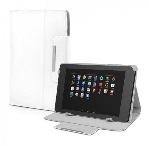 eFabrik Schutz Hülle für TrekStor Volks-Tablet 3G (25,7 cm) 10 Zoll Hülle Tasche Cover Schutzhülle Leder-Optik weiß