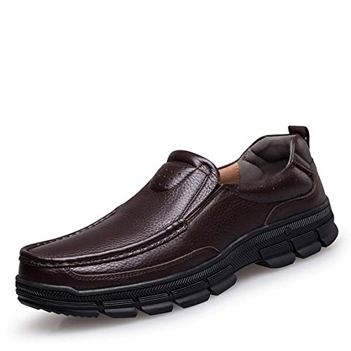 MAIZUN Mens Casual Shoes Leather Lightweight Slip On Loafers Comfortable Driving Walking Shoes Sneakers Brown