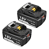 Topbatt 2X BL1860B 18V pour Makita batterie de rechange BL1860 BL1850B BL1850 BL1840 BL1830 BL1835 BL1845 BL1815 LXT-400 avec Indicateur LED Sans fil Outils électroportatifs