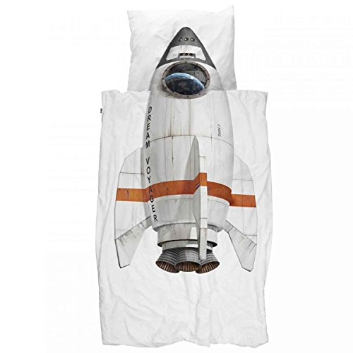 Snurk - Kinder-Bettwäsche-Set - Rocket, Rakete - Baumwolle - Decke (135x200cm) und Kissen (80x80cm)