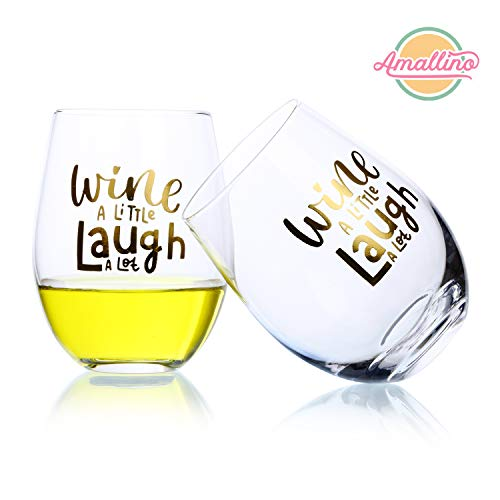 Custom Stemless Wine Glass Ideal for Red and White Wine,Fun and Personalized Gift, Dishwasher-Safe - Wine a Little, Laugh a Lot Set of 2 20- Ounce, Amallino