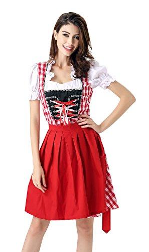 Killreal Women's Oktoberfest Costume 3 Pieces German Dirndl Dress Halloween Cosplay Costume Multi-Color Medium