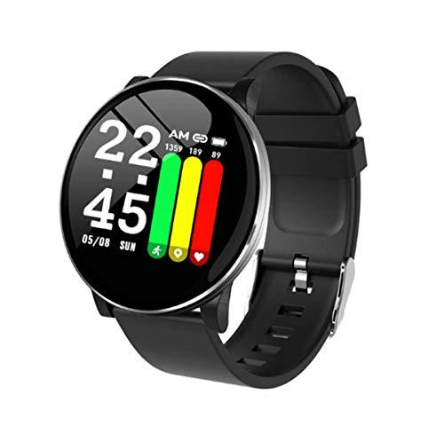 Pulsera Inteligente, rastreador de Actividad Monitor de Ritmo cardíaco a Prueba de Agua IP67 Deporte Mujer Hombre Niño Presión Arterial Cronómetro Contador de frecuencia (Negro (Redondo))