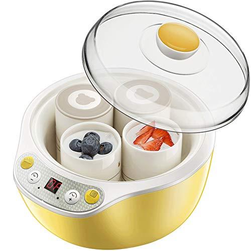 Yogurtera 1 Litro, 4 tarros con Cierre de Rosca de 125ml, Temporizador, Pantalla LCD, Acero Inoxidable, Sorbete y Yogur Congela,Máquina de Bajo Consumo 20W, Sin BPA