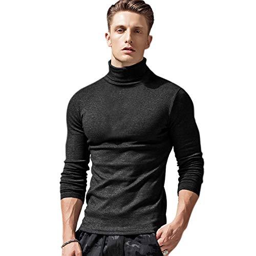 JX-PEP Camisa de Tortuga de Hombres Rodillo de Rodillo de algodón de Manga Larga de Manga Larga de Cuello Oscuro-Slim-Fit Pullover Cálido Top Chalecos Suéteres,Negro,L