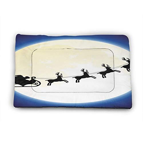 Nicokee Hunde-/Katzenbett-Matte, Weihnachtsmann, sitzend auf Hirschwagen, fliegt über Mond, blau, wendbar, für Hundekäfig, Hundebett, Hundehütte, Käfigkissen für Hunde und Katzen (groß)