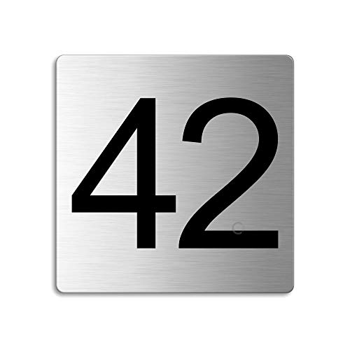 Plaque Numéro de porte 42 | 85x85 mm autocollant | acier inox brossé Nr.48342