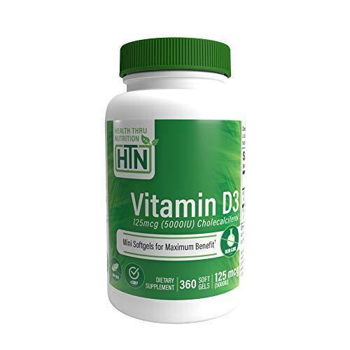 Vitamin D3 5000 IU, Non-GMO, 360...