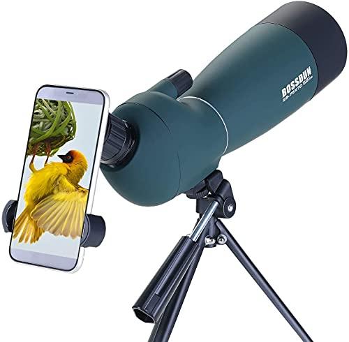 25-75x70 Cannocchiale con Treppiede, Borsa per il Trasporto e Adattatore per Smartphone - Cannocchiale Monoculare Impermeabile per Osservazione Uccelli Tiro con l arco Safari Turistico