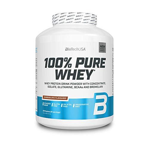 BioTechUSA 100% Pure Whey Complejo de suero de leche con bromelina, aminoácidos, sin azúcar añadido, sin aceite de palma, con edulcorante, 2.27 kg, Chocolate