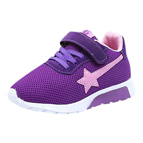 Chaussures de Sport Running Sneakers Enfant Garçon Fille Baskets de Course à Pied Mode Mesh Respirantes Étoile Imprimées Légères Sneakers Entraînement Shoes Outdoor 3-12ans BaZhaHei(32,Violet)
