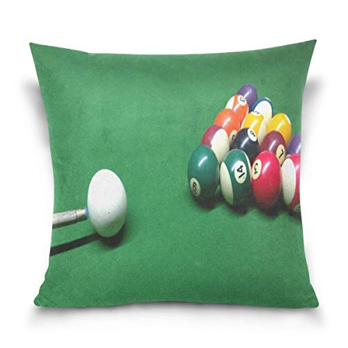 lucies Throw Pillow Case Decorative Cushion Cover Square Pillowcase, Billiard Ball Green Sport Sofa Bed Pillow Case Cover(18x18inch) Twin Sides