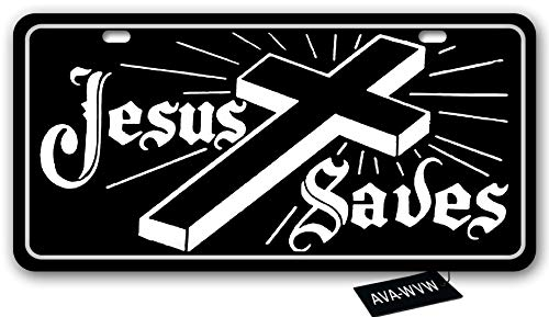 AVA-WVW Jesus License Plate | Jesus Saves | Funny Novelty Vanity Front License Plate Frame Cover Gift for Men Women | Decorative Metal Car Plate Sign Auto Tag | Aluminum Plate 6 X 12 Inch (2 Holes)