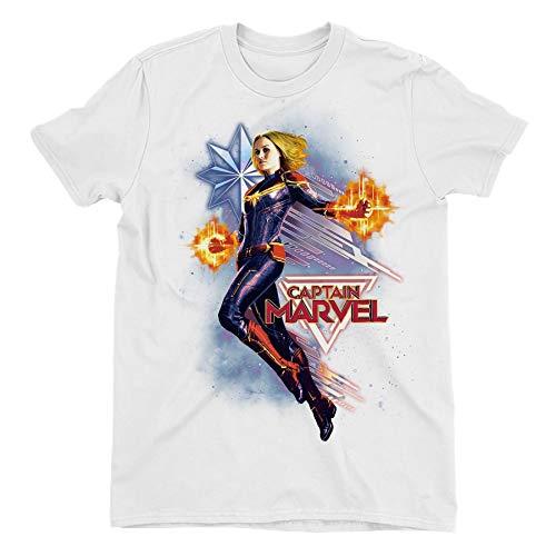 Captain Marvel Flying Galactic Shine Children's Unisex White T-Shirt 7-8 Years