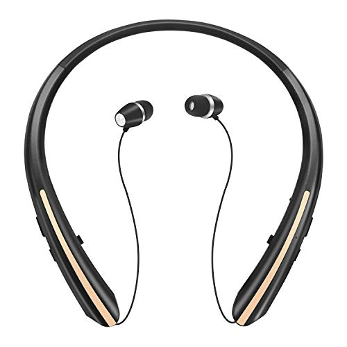 Retractable Bluetooth Headphones, Wireless Earbuds Stereo Headsets Neckband Earphone Noise Canceling with Mic by Mikicat (2020 Upgraded, 20 Hours Playtime, Black Gold)