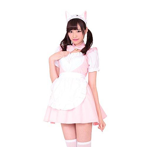 A&TCollection いちご☆メイド/ラブリー系ピンクメイド★ネコ耳&鈴付きリボン コスチューム ピンク×白 レディース