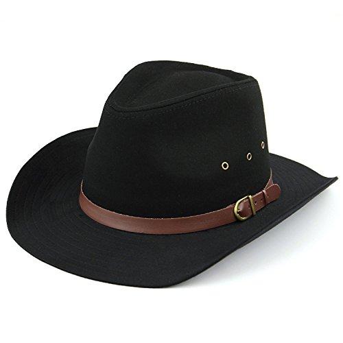 Hawkins Hut mit breiter Krempe, mit Belüftungslöchern, Schwarz oder Beige Gr. 57 cm, Schwarz