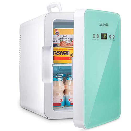 AstroAI Mini Fridge 6 Liter/8 Can Skincare Fridge for Bedroom - with Upgraded Temperature Control Panel - AC/12V DC Thermoelectric Portable Cooler and Warmer for Skin Care, Foods, Medications (Green)