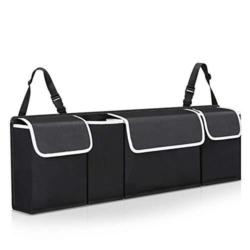 Veshow Organizador de maletero de coche: correa ajustable, resistente al agua, Oxford 600D, caja de almacenamiento de gran capacidad, color negro