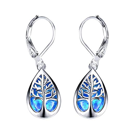 Ladies White Opal Tree Of Life Drop Shaped Earrings Fashion All-Match Earrings Hypoallergenic Earrings